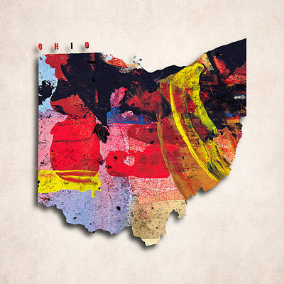 Ohio Map Art - Painted Map Of Ohio Poster by World Art Prints And Designs