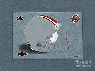 Ohio Buckeyes Helmet T-shirt  Poster by Herb Strobino