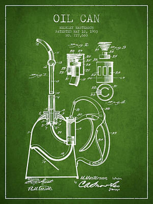 Oil Can Patent From 1903 - Green Poster