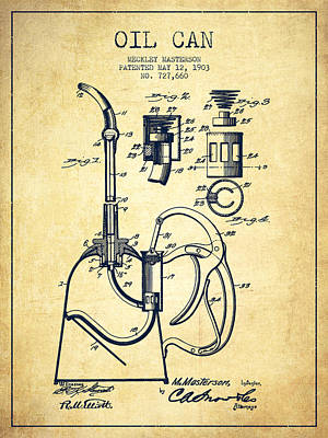 Oil Can Patent From 1903 - Vintage Poster
