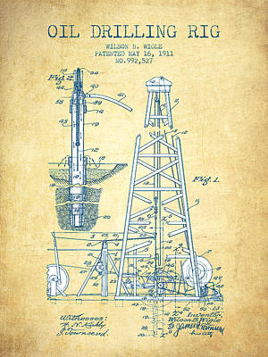 Oil Drilling Rig Patent From 1911 - Vintage Paper Poster by Aged Pixel
