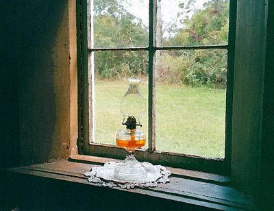 Oil Lamp On Window Poster