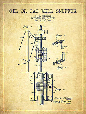 Oil Or Gas Well Snuffer Patent From 1938 - Vintage Poster
