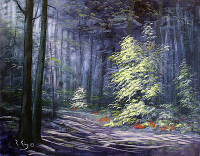 Oil Painting - Forest Light Poster by Roena King