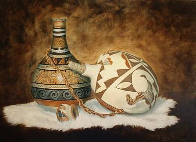 Oil Painting - Indian Pots Poster by Roena King
