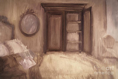 Oil Painting Of A Bedroom/ Digitally Painting Poster by Sandra Cunningham