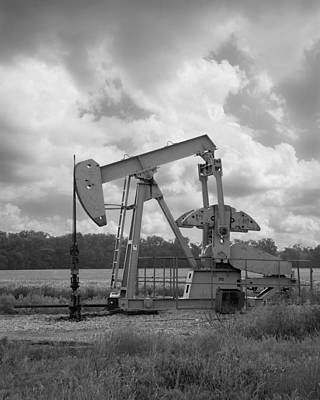 Oil Pump Jack In Black And White Photography Poster by Ann Powell