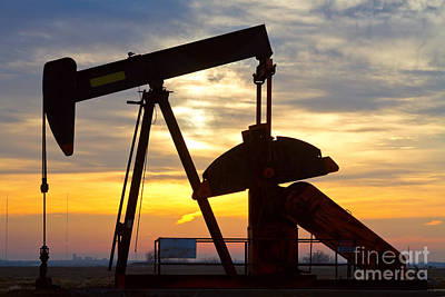 Oil Pump Sunrise Poster