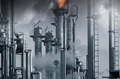 Oil Refinery Power And Energy Poster