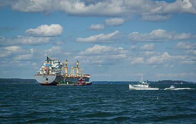 Poster featuring the photograph Oil Tanker And Lobster Boat by Jane Luxton
