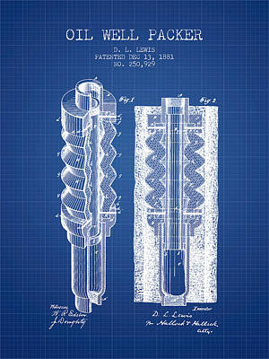 Oil Well Packer Patent From 1881 - Blueprint Poster