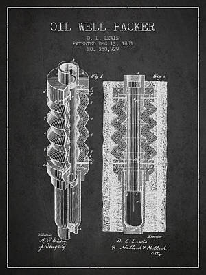 Oil Well Packer Patent From 1881 - Charcoal Poster