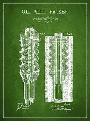 Oil Well Packer Patent From 1881 - Green Poster