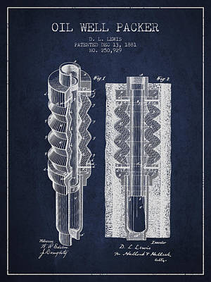 Oil Well Packer Patent From 1881 - Navy Blue Poster