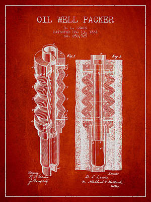 Oil Well Packer Patent From 1881 - Red Poster