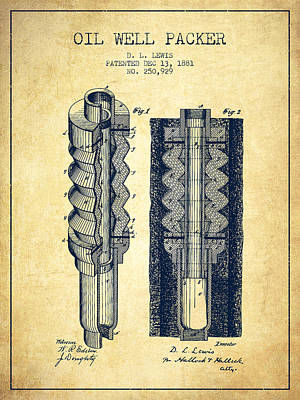 Oil Well Packer Patent From 1881 - Vintage Poster