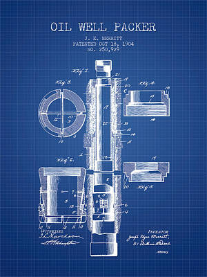 Oil Well Packer Patent From 1904 - Blueprint Poster