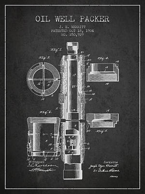 Oil Well Packer Patent From 1904 - Charcoal Poster