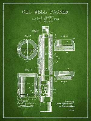 Oil Well Packer Patent From 1904 - Green Poster
