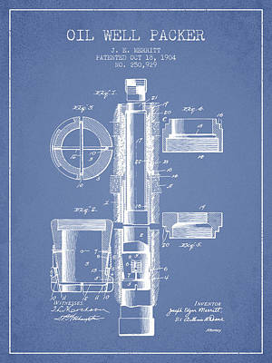 Oil Well Packer Patent From 1904 - Light Blue Poster