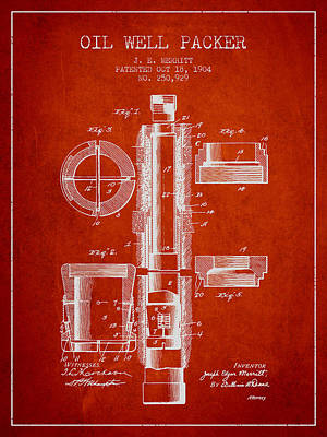Oil Well Packer Patent From 1904 - Red Poster