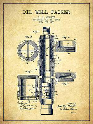 Oil Well Packer Patent From 1904 - Vintage Poster