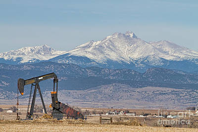 Oil Well Pumpjack And Snow Dusted Longs Peak Poster