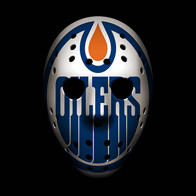 Oilers Goalie Mask Poster by Joe Hamilton