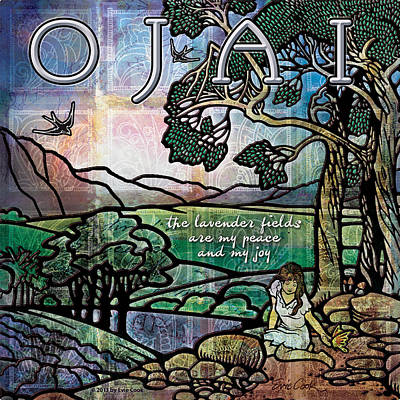 Poster featuring the digital art Ojai California Lavender Fields by Evie Cook