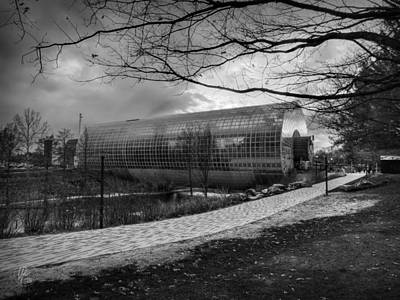 Okc Winter At Myriad Botanical Gardens 001 Bw Poster by Lance Vaughn