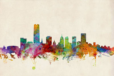 Oklahoma City Skyline Poster by Michael Tompsett