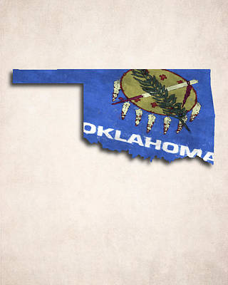 Oklahoma Map Art With Flag Design Poster