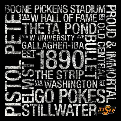 Oklahoma State College Colors Subway Art Poster