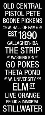 Oklahoma State College Town Wall Art Poster by Replay Photos