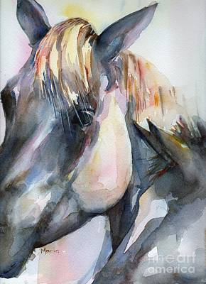 Grey Horse Painting Oklahoma Sunshine Poster by Maria's Watercolor