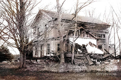 Old Abandoned Farmhouse Michigan Landscape Poster by Kathy Fornal