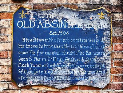 Old Absinthe Bar - Bourbon Street Poster by Bill Cannon