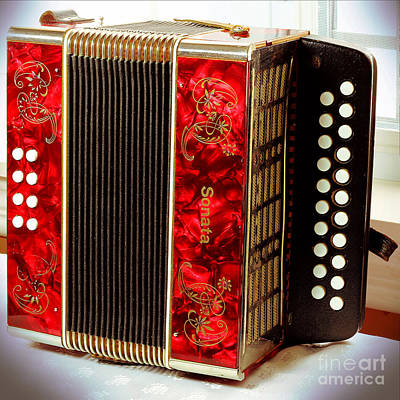 Old Accordion - Music - Cabin Party Poster by Barbara Griffin