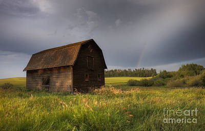 Old Barn After The Rain Poster