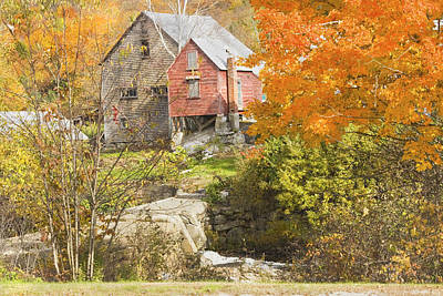 Old Barn And Dam In Autunm Vienna Maine Poster