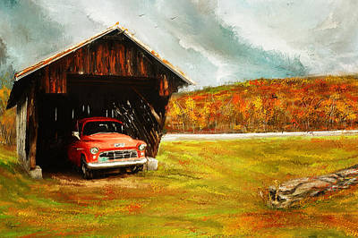 Old Barn And Red Truck Poster by Lourry Legarde