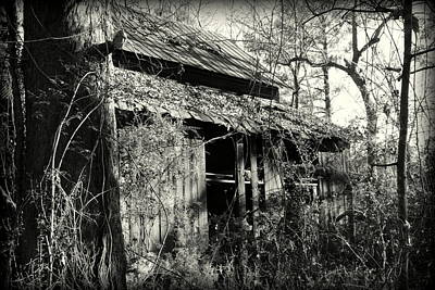 Poster featuring the photograph Old Barn In Black And White by Lisa Wooten