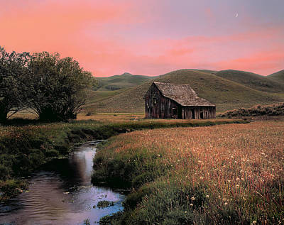 Old Barn In The Pioneer Mountains Poster