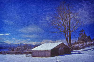 Old Barn In Winter Poster by Richard Farrington