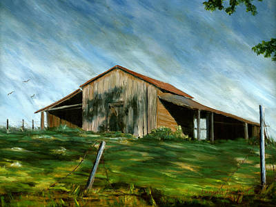 Old Barn Landscape Art Pleasant Hill Louisiana  Poster