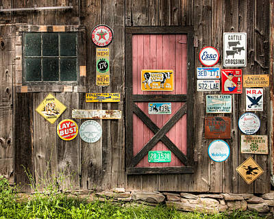 Old Barn Signs - Door And Window - Shadow Play Poster by Gary Heller