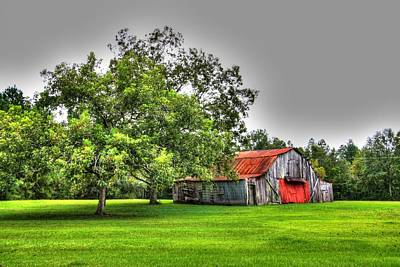 Poster featuring the photograph Old Barn With Red Door by Lanita Williams