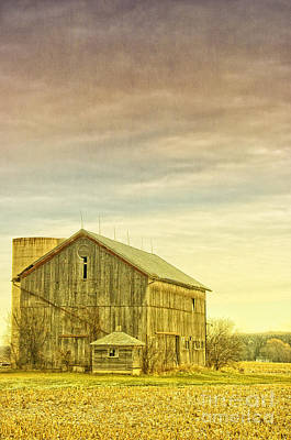 Old Barn With Silo Poster by Birgit Tyrrell