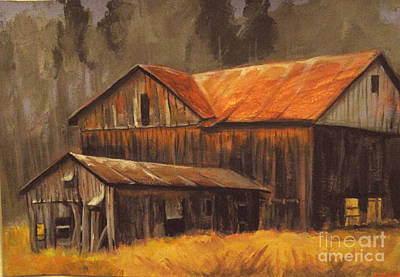 Poster featuring the painting Old Barns by Carol Hart