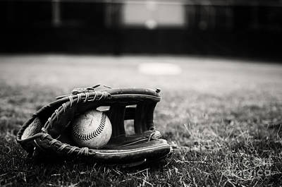 Old Baseball And Glove On Field Poster